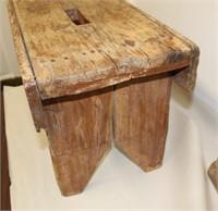 "Primitive bucket bench - 24"" long"