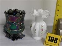"Mosser carnival spooner, Fenton 6"" vase"