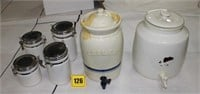 2 pottery ice tea coolers & 4 cannisters