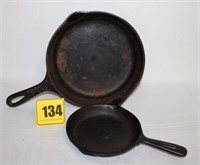 2 cast iron skillets -1 Wagner #6