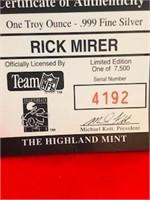 1993 One Ounce Silver Token NFL Rick Mirer