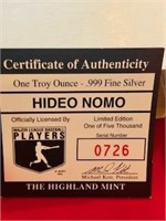 One Ounce .999 Silver Token  Hideo Nomo MLB