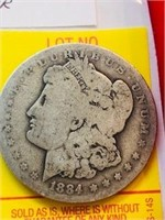 1884 New Orleans Antique Morgan Silver Dollar