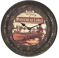 Rivers Edge Products Moosehead Rusty Metal Clock,