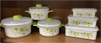 12 pc Green Floral Microwave Cookware