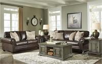 Ashley 58702 Rolesan Leather Sofa & Love Seat