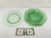 6 Green Glass Dessert Plates