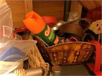 All in closet, plastic shelves & all contents
