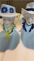 Pair Porcelain Lady Planters