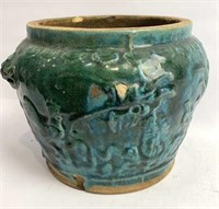 Antique Chinese Earthenware Salt Bowl