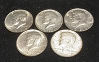 5 JFK 1964 Half Dollars