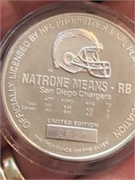 1993 One Ounce .999 Silver Token Natrone Means NFL