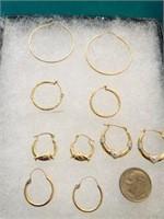 5 Pr. 14K Gold Small  Hoops
