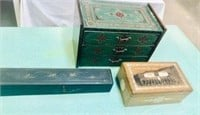 3 Antique Wooden Boxes Inlaid