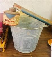 Vintage Metal Bucket and Bug Sprayer