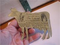 """Vintage De Laval Tin Cow 4&7/8"""" x 3&3/4"""""""
