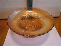 Vtg Marigold Carnival Glass Footed Bowl8&1/4x3&3/4