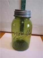 Vintage Ball Perfect Mason Olive Green Qt Jar