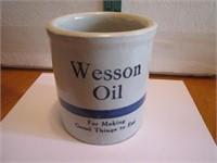 Vtg Advertising Crock Beater Jar Wesson Oil For