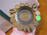 """1963 Mexico Coin Ashtray 5"""""""