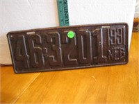1931 Nebraska License Plate 46-3201 NEB
