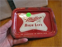 Vtg Miller High Life Beer Tray (rusty edges & nail
