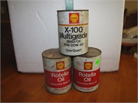 3 Vtg Empty Shell Quart Oil Cans