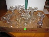 9 Vintage Crystal Candle Holders