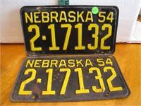 Pair of 1954 Nebraska License Plates 2-17132