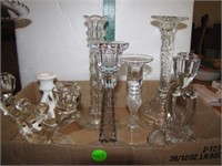 8 Vintage Crystal & Other Candle Holders