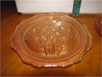 """Vtg Iris & Herringbone Carnival Glass Plate 9&1/2"""""""