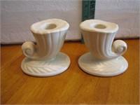 "Vintage Pottery Candle Holders Set 3&1/2"""