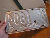 1948 Nebraska License Plate 8-CM1604 CM is metal