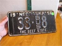 1956 Nebraska License Plate 33-BUS8 The Beef