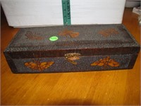 Vtg Hand Carved Wood Glove Box 11&3/4x4&5/8x3