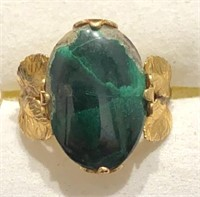 10k Gold Filled Green Stone Ring