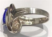 Sterling Designer Blue Stone Ring