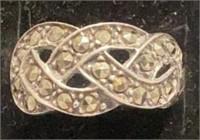 Ornate Designer Sterling Marcasite Ring