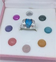 Sterling Ring with Interchangeable Stones