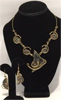 Abstract Brass and Copper Jewelry Set