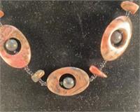 Pink Black Stone Necklace