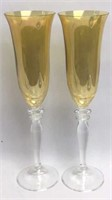 Pair of Amber Clear Glass Champagne Flutes