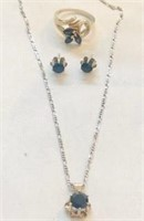 Sterling Silver Sapphire Ring Necklace & Earrings