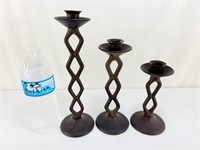 3 Wroucht Iron Candle Holders