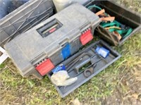 2-aluminum tables, totes, plastic tool box,