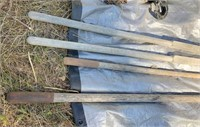 rake, post hole digger & shovel