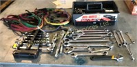 Assorted Wrenches, Ratchets, Bungie Cords