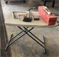 Small Folding Table, Axe Head, Clamps,