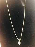 14K Gold 30 in necklace w/ opal & diamond pendant