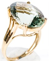 Jewelry 10kt Yellow Gold Green Amethyst Ring